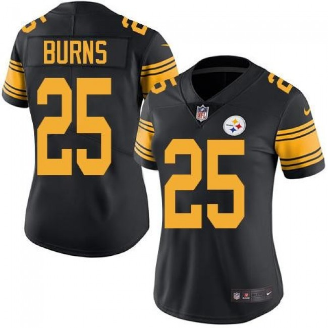 Women's Steelers #25 Artie Burns Black Stitched NFL Limited Rush Jersey