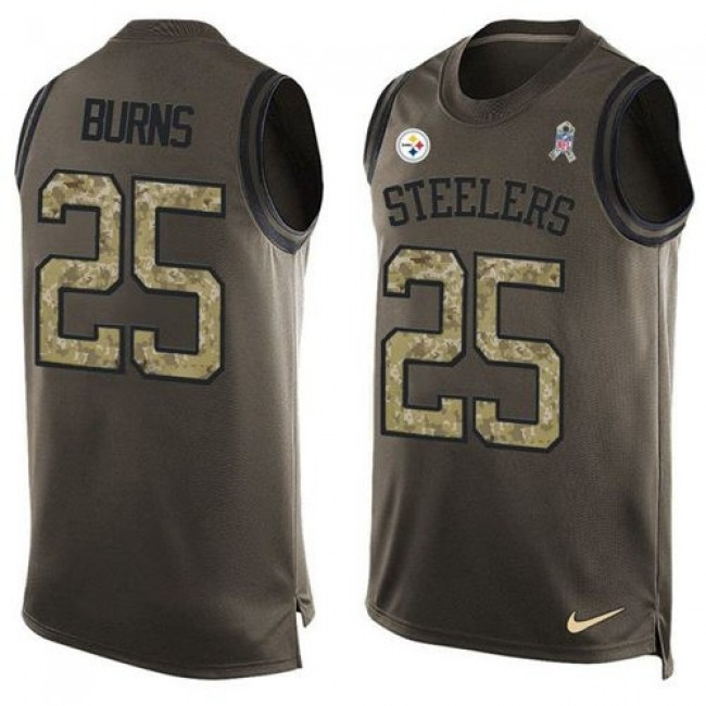 Nike Steelers #25 Artie Burns Green Men's Stitched NFL Limited Salute To Service Tank Top Jersey