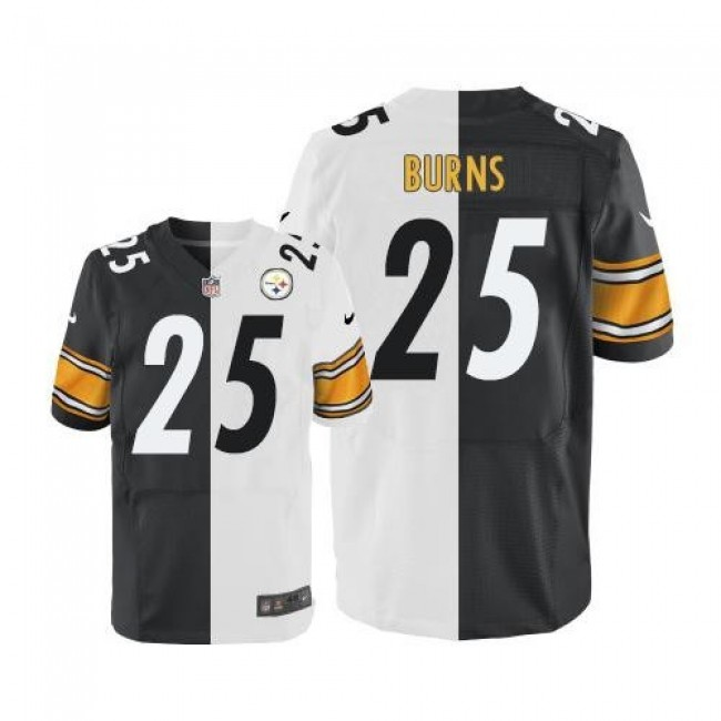 Nike Steelers #25 Artie Burns White/Black Men's Stitched NFL Elite Split Jersey