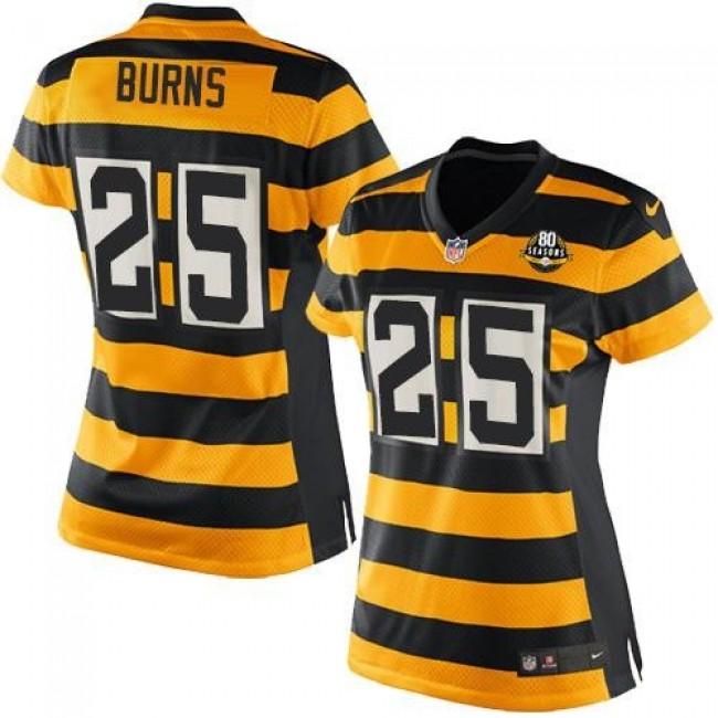 Women's Steelers #25 Artie Burns Yellow Black Alternate Stitched NFL Elite Jersey