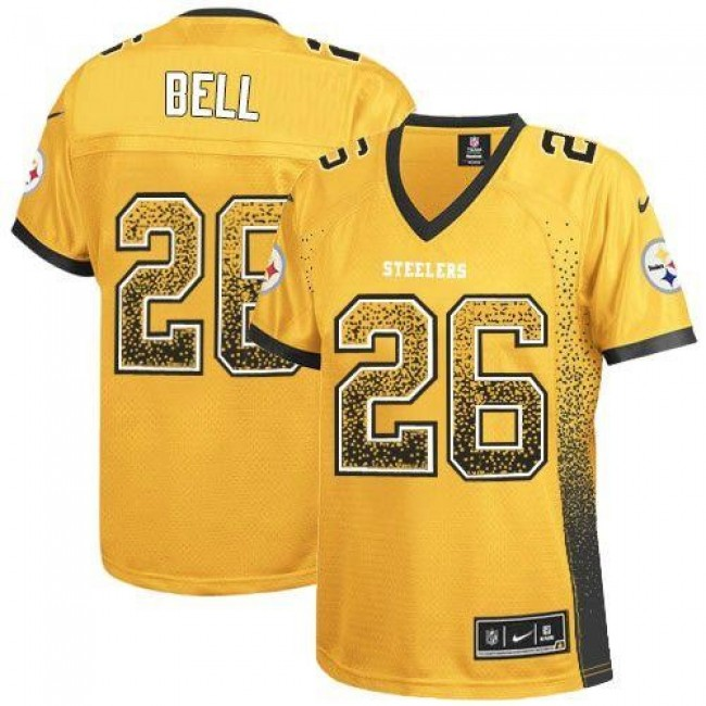 Women's Steelers #26 Le'Veon Bell Gold Stitched NFL Elite Drift Jersey