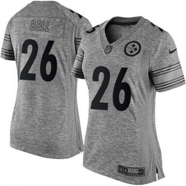 Women's Steelers #26 Le'Veon Bell Gray Stitched NFL Limited Gridiron Gray Jersey