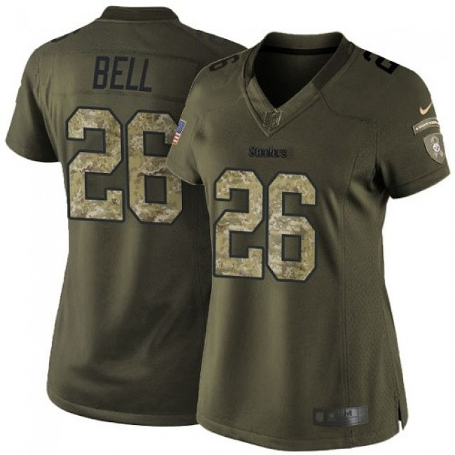 Women's Steelers #26 Le'Veon Bell Green Stitched NFL Limited 2015 Salute to Service Jersey