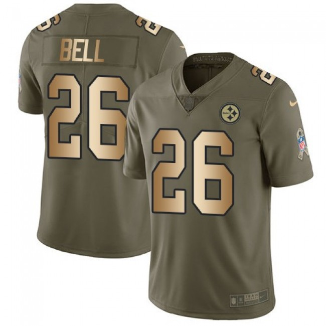 Pittsburgh Steelers #26 Le Veon Bell Olive-Gold Youth Stitched NFL Limited 2017 Salute to Service Jersey