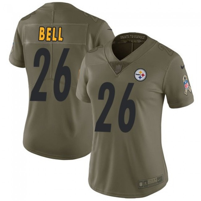 Women's Steelers #26 Le'Veon Bell Olive Stitched NFL Limited 2017 Salute to Service Jersey