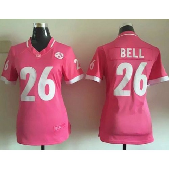 Women's Steelers #26 Le'Veon Bell Pink Stitched NFL Elite Bubble Gum Jersey