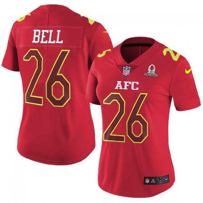 Women's Steelers #26 Le'Veon Bell Red Stitched NFL Limited AFC 2017 Pro Bowl Jersey