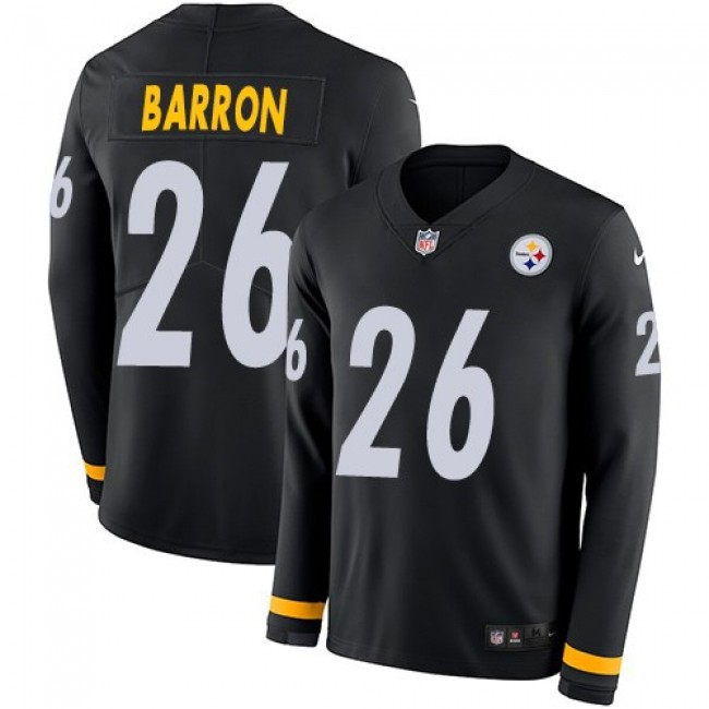 Nike Steelers #26 Mark Barron Black Team Color Men's Stitched NFL Limited Therma Long Sleeve Jersey