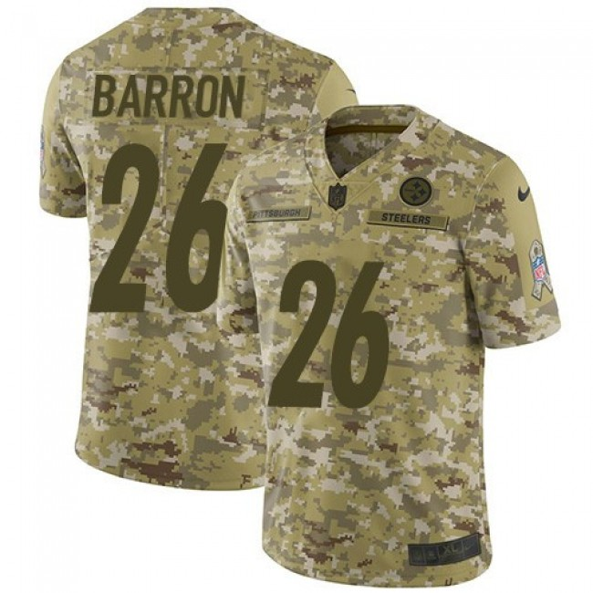 Nike Steelers #26 Mark Barron Camo Men's Stitched NFL Limited 2018 Salute To Service Jersey