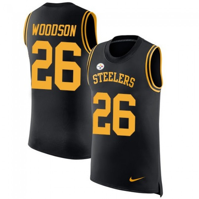 Nike Steelers #26 Rod Woodson Black Team Color Men's Stitched NFL Limited Rush Tank Top Jersey
