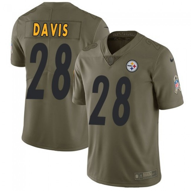 Pittsburgh Steelers #28 Sean Davis Olive Youth Stitched NFL Limited 2017 Salute to Service Jersey
