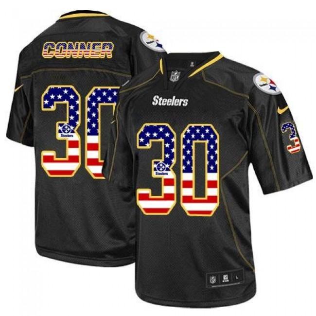 Nike Steelers #30 James Conner Black Men's Stitched NFL Elite USA Flag Fashion Jersey