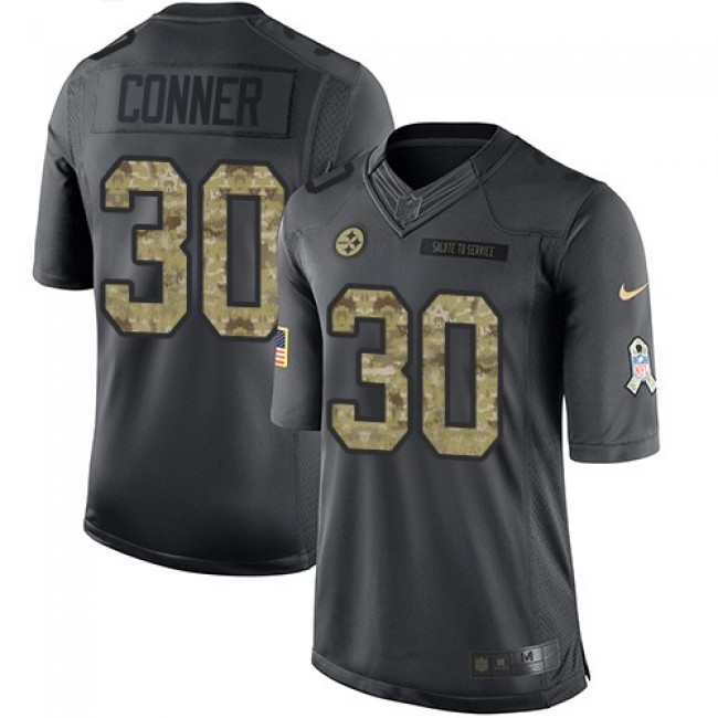 Nike Steelers #30 James Conner Black Men's Stitched NFL Limited 2016 Salute to Service Jersey