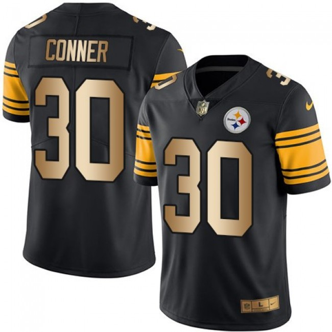 Nike Steelers #30 James Conner Black Men's Stitched NFL Limited Gold Rush Jersey