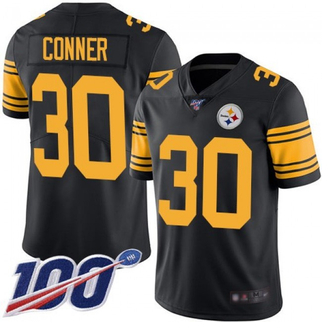 Nike Steelers #30 James Conner Black Men's Stitched NFL Limited Rush 100th Season Jersey
