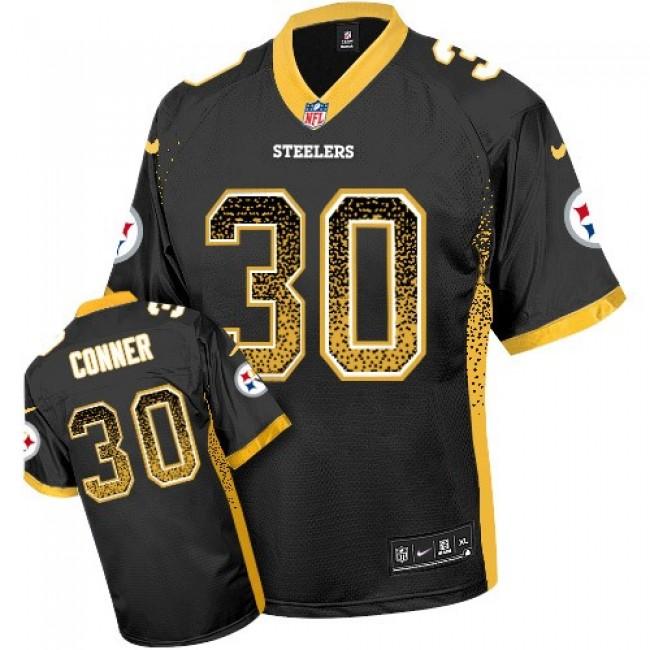Nike Steelers #30 James Conner Black Team Color Men's Stitched NFL Elite Drift Fashion Jersey