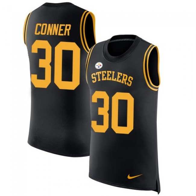 Nike Steelers #30 James Conner Black Team Color Men's Stitched NFL Limited Rush Tank Top Jersey