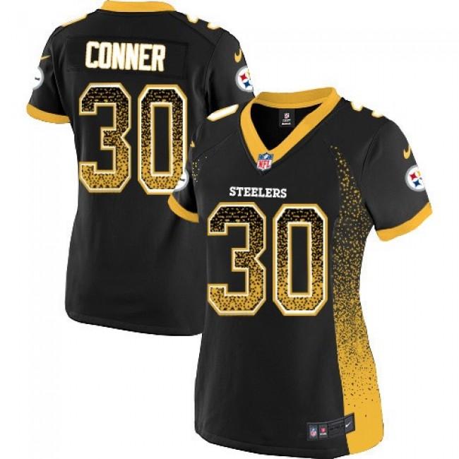 Women's Steelers #30 James Conner Black Team Color Stitched NFL Elite Drift Jersey