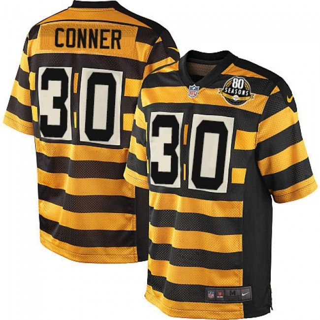 Pittsburgh Steelers #30 James Conner Black-Yellow Alternate Youth Stitched NFL Elite Jersey