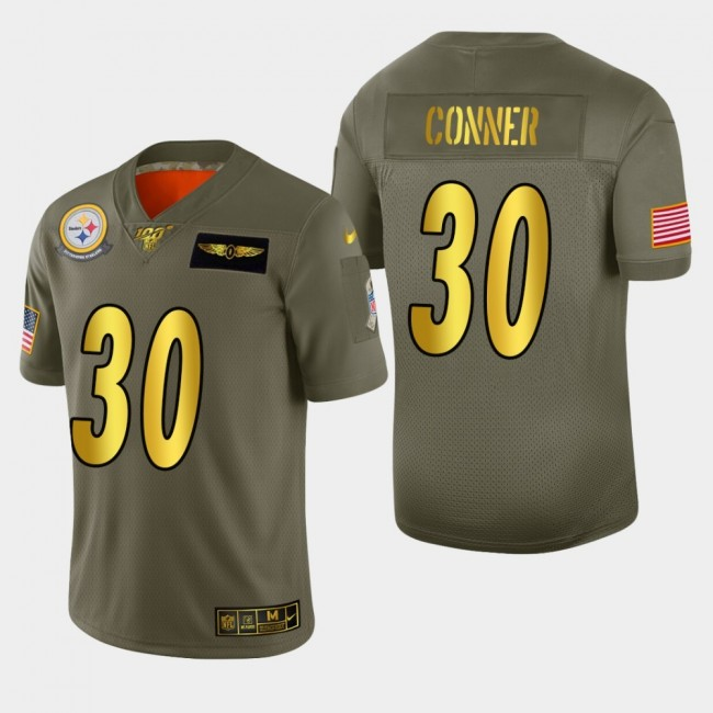 Nike Steelers #30 James Conner Men's Olive Gold 2019 Salute to Service NFL 100 Limited Jersey