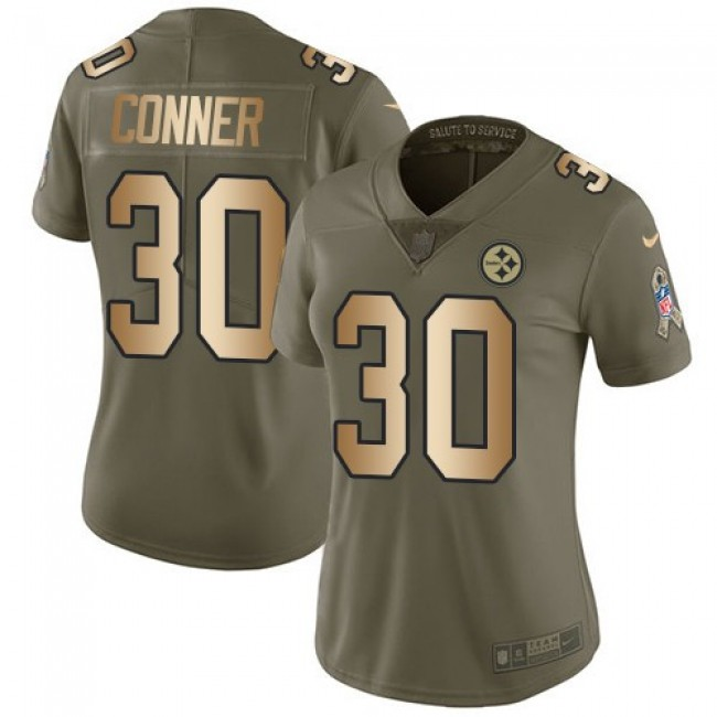 Women's Steelers #30 James Conner Olive Gold Stitched NFL Limited 2017 Salute to Service Jersey