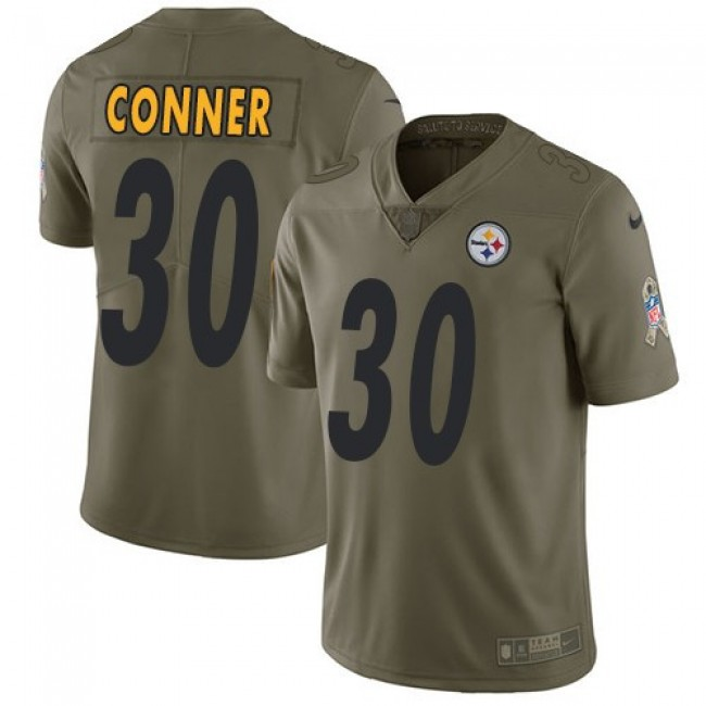 Pittsburgh Steelers #30 James Conner Olive Youth Stitched NFL Limited 2017 Salute to Service Jersey