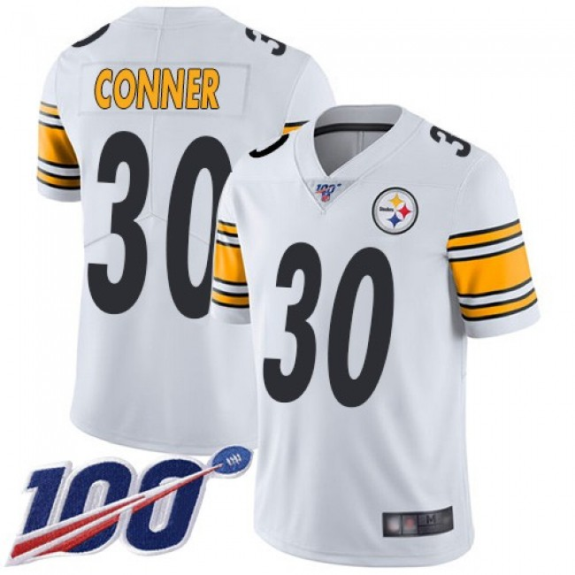 Nike Steelers #30 James Conner White Men's Stitched NFL 100th Season Vapor Limited Jersey