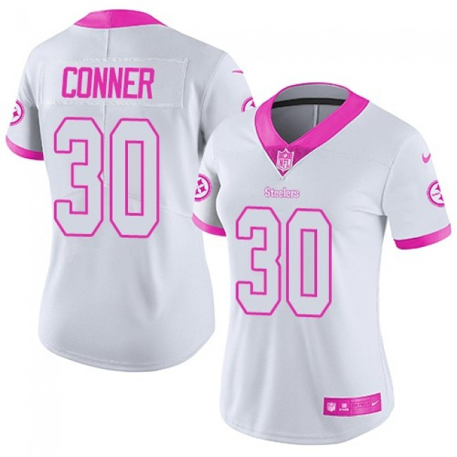 Women's Steelers #30 James Conner White Pink Stitched NFL Limited Rush Jersey