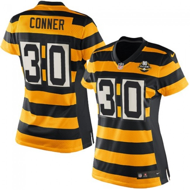 Women's Steelers #30 James Conner Yellow Black Alternate Stitched NFL Elite Jersey