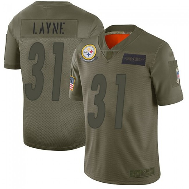 Nike Steelers #31 Justin Layne Camo Men's Stitched NFL Limited 2019 Salute To Service Jersey