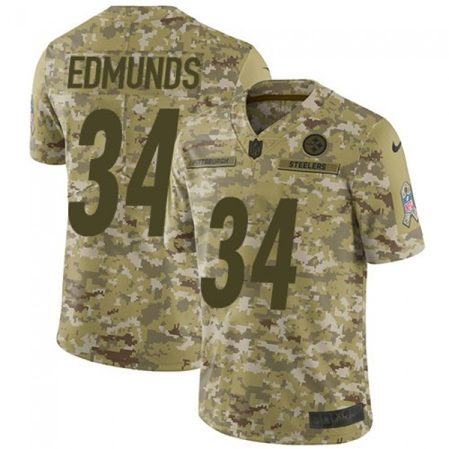 Nike Steelers #34 Terrell Edmunds Camo Men's Stitched NFL Limited 2018 Salute To Service Jersey