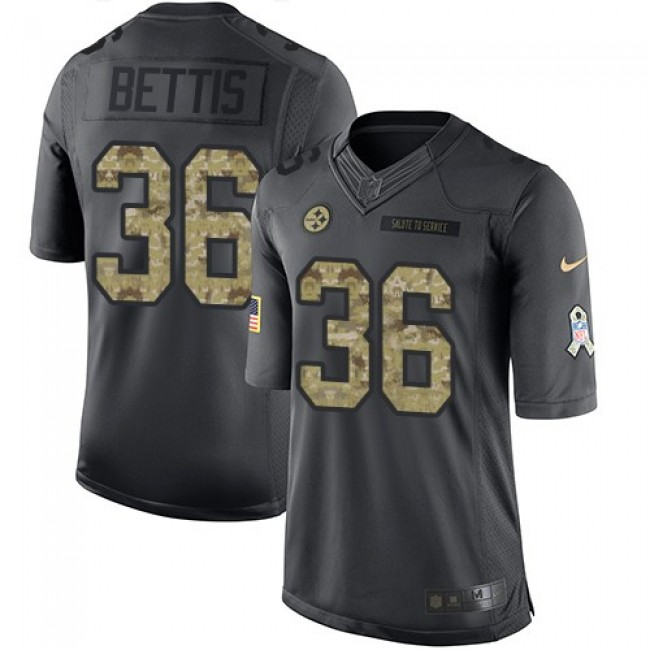 Pittsburgh Steelers #36 Jerome Bettis Black Youth Stitched NFL Limited 2016 Salute to Service Jersey