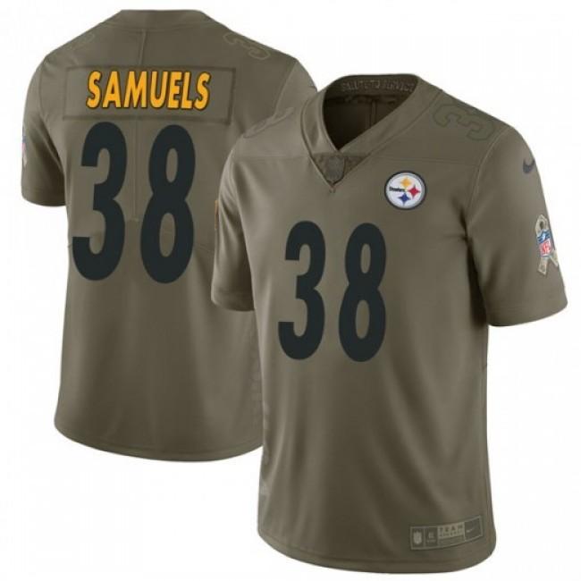 Nike Steelers #38 Jaylen Samuels Olive Men's Stitched NFL Limited 2017 Salute to Service Jersey