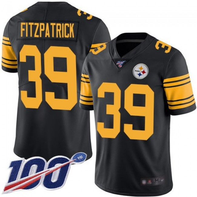 Nike Steelers #39 Minkah Fitzpatrick Black Men's Stitched NFL Limited Rush 100th Season Jersey
