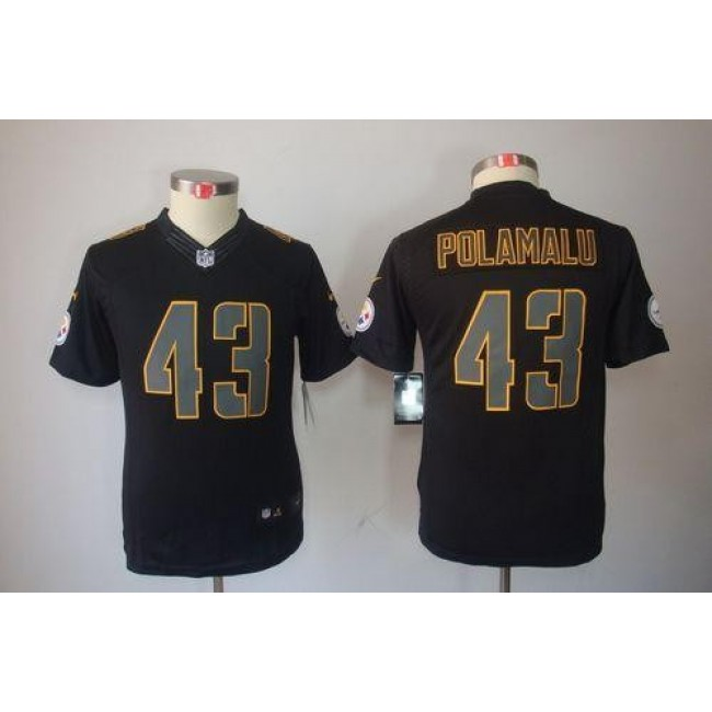 Pittsburgh Steelers #43 Troy Polamalu Black Impact Youth Stitched NFL Limited Jersey