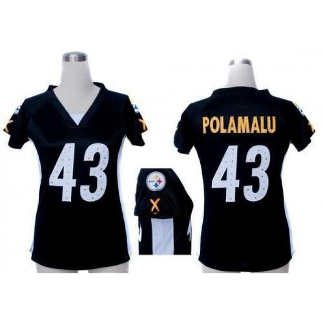 Women's Steelers #43 Troy Polamalu Black Team Color Draft Him Name Number Top Stitched NFL Elite Jersey