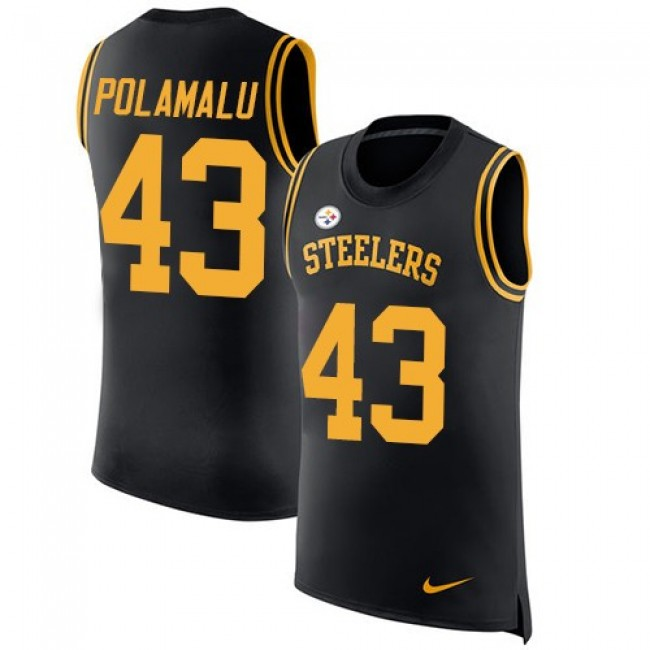 Nike Steelers #43 Troy Polamalu Black Team Color Men's Stitched NFL Limited Rush Tank Top Jersey