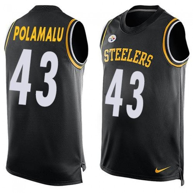 Nike Steelers #43 Troy Polamalu Black Team Color Men's Stitched NFL Limited Tank Top Jersey