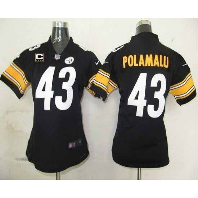 Women's Steelers #43 Troy Polamalu Black Team Color With C Patch Stitched NFL Elite Jersey