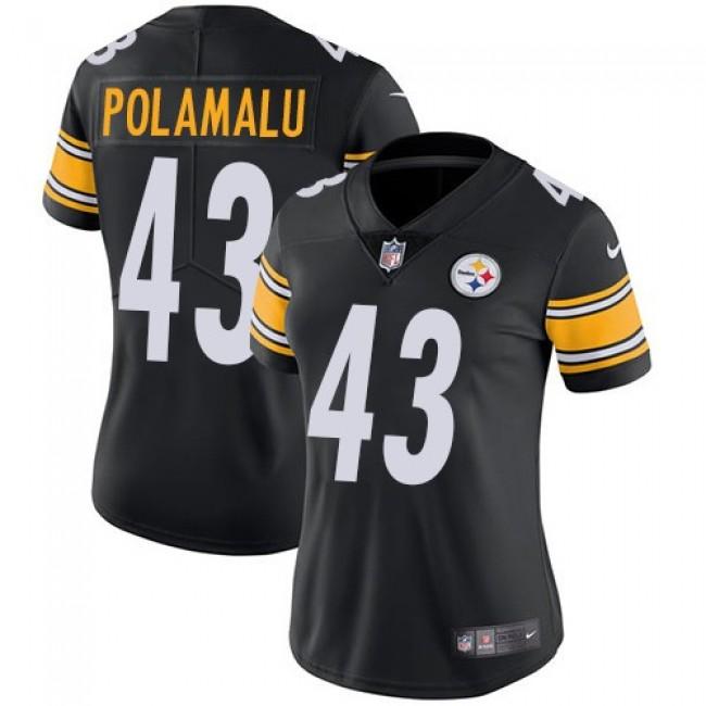 Women's Steelers #43 Troy Polamalu Black Team Color Stitched NFL Vapor Untouchable Limited Jersey