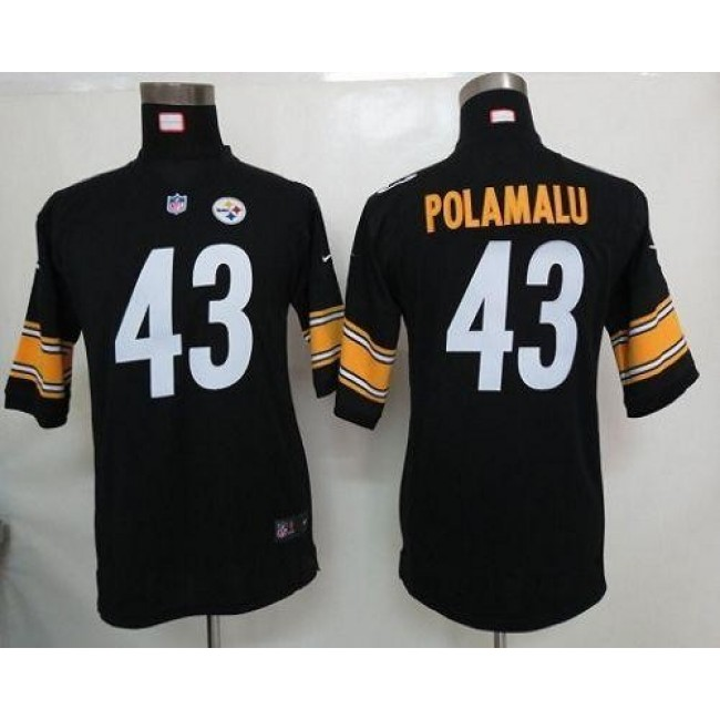 Pittsburgh Steelers #43 Troy Polamalu Black Team Color Youth Stitched NFL Elite Jersey