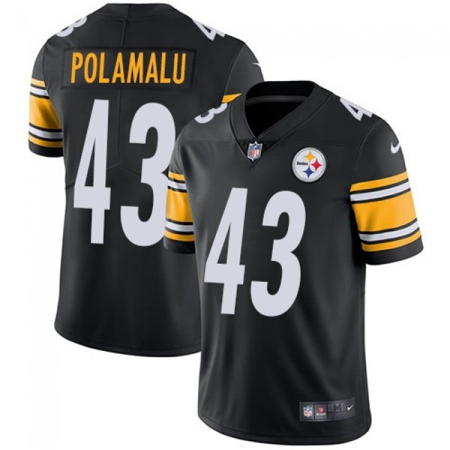 Pittsburgh Steelers #43 Troy Polamalu Black Team Color Youth Stitched NFL Vapor Untouchable Limited Jersey