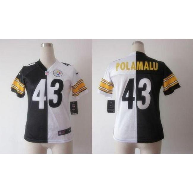 Women's Steelers #43 Troy Polamalu Black White Stitched NFL Elite Split Jersey
