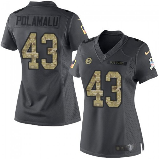 Women's Steelers #43 Troy Polamalu Black Stitched NFL Limited 2016 Salute to Service Jersey