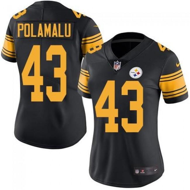 Women's Steelers #43 Troy Polamalu Black Stitched NFL Limited Rush Jersey