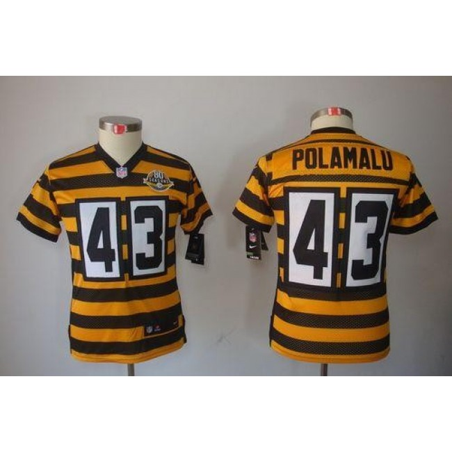 Pittsburgh Steelers #43 Troy Polamalu Black-Yellow Alternate Youth Stitched NFL Limited Jersey