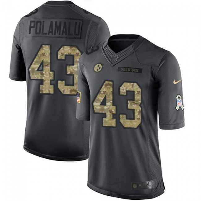 Pittsburgh Steelers #43 Troy Polamalu Black Youth Stitched NFL Limited 2016 Salute to Service Jersey