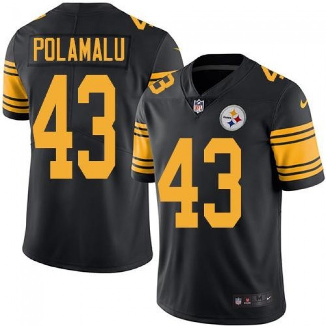 Pittsburgh Steelers #43 Troy Polamalu Black Youth Stitched NFL Limited Rush Jersey