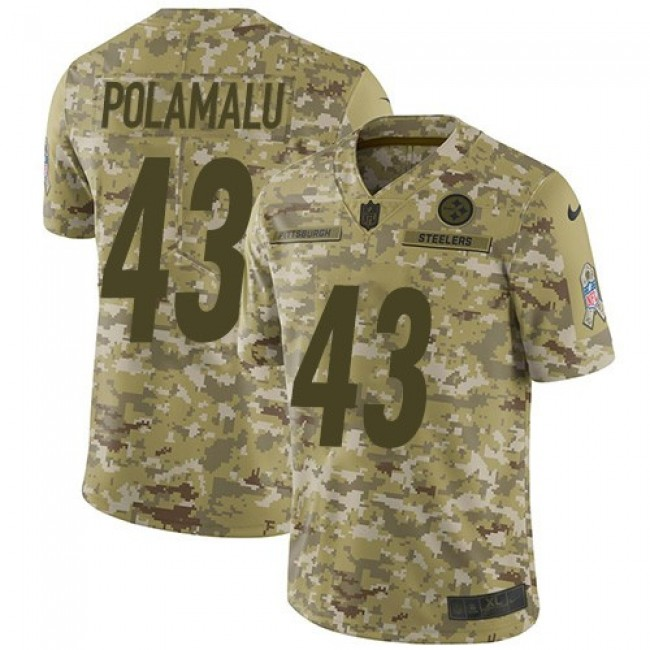 Nike Steelers #43 Troy Polamalu Camo Men's Stitched NFL Limited 2018 Salute To Service Jersey