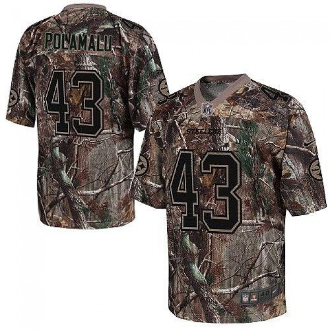 Pittsburgh Steelers #43 Troy Polamalu Camo Youth Stitched NFL Realtree Elite Jersey